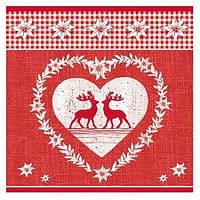 Серветка Сердечко з оленями 2-7062