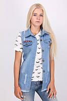 Модная молодежная женская джинсовая жилетка