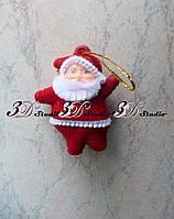 Дед Мороз бархатный фигурка декоративная 5см