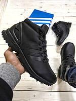 Зимние мужские кроссовки Adidas ZX Flux Winter высокие кожа натуральная мех черные