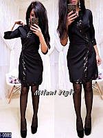 Стильное мини платье-кимоно с отделкой из паеток. Цвет черный. Арт-12888