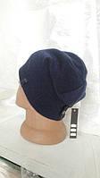 Трикотажная качественная мужская шапка на флисе