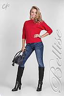 Яркая трикотажная женская кофточка красного цвета Код:422433250