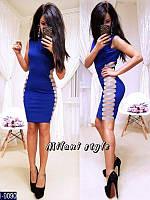 Красивое вечернее синее мини платье с декоративными боками. Арт-12890