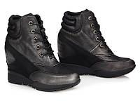 Чорные женские ботинки (сникерсы) на шнуровке Jacky Black