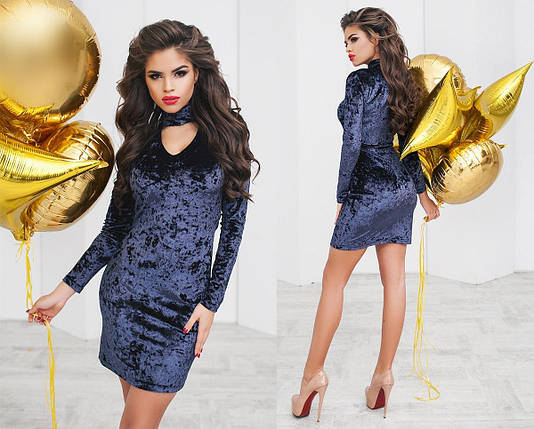 """Облегающее велюровое мини-платье """"Amber"""" с длинным рукавом (2 цвета), фото 2"""