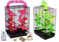 Клетка для хомяка, мыши, грызунов  + опилки + корм 15 Красный