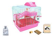 Клетка для хомяка, мыши, грызунов  + опилки + корм 9 Розовый