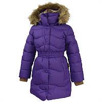 Зимнее пальто - пуховик GRACE 1 для девочки от 5 до 10 лет р. 110-140 ТМ HUPPA Фиолетовое 17930155-70053