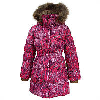 Зимнее пуховое пальто GRACE для девочки 7, 9, 10 лет р. 122, 134, 140 ТМ HUPPA Малиновое 17930055-73263