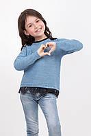 Нарядный вязанный джемпер для девочки с кружевом, размеры 104-122
