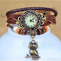 Стильные женские кварцевые часы СL Owl Brown
