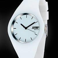 Стильные женские наручные часы Skmei Rubber White II, фото 1