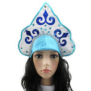 Кокошник Снегурочки Узор голубой с белым