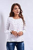 Оригинальная молодёжная  блузка сводного кроя  белая S, M, L Код:589795992