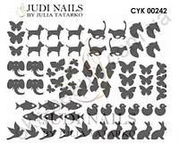 Трафарет Deep design для дизайна ногтей #242