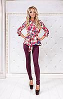"""Брючный женский костюм """"Marlin"""" с блузой в цветочек (2 цвета)"""