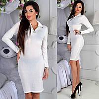 Платье женское приталенное длинный рукав с воротничком белое СП