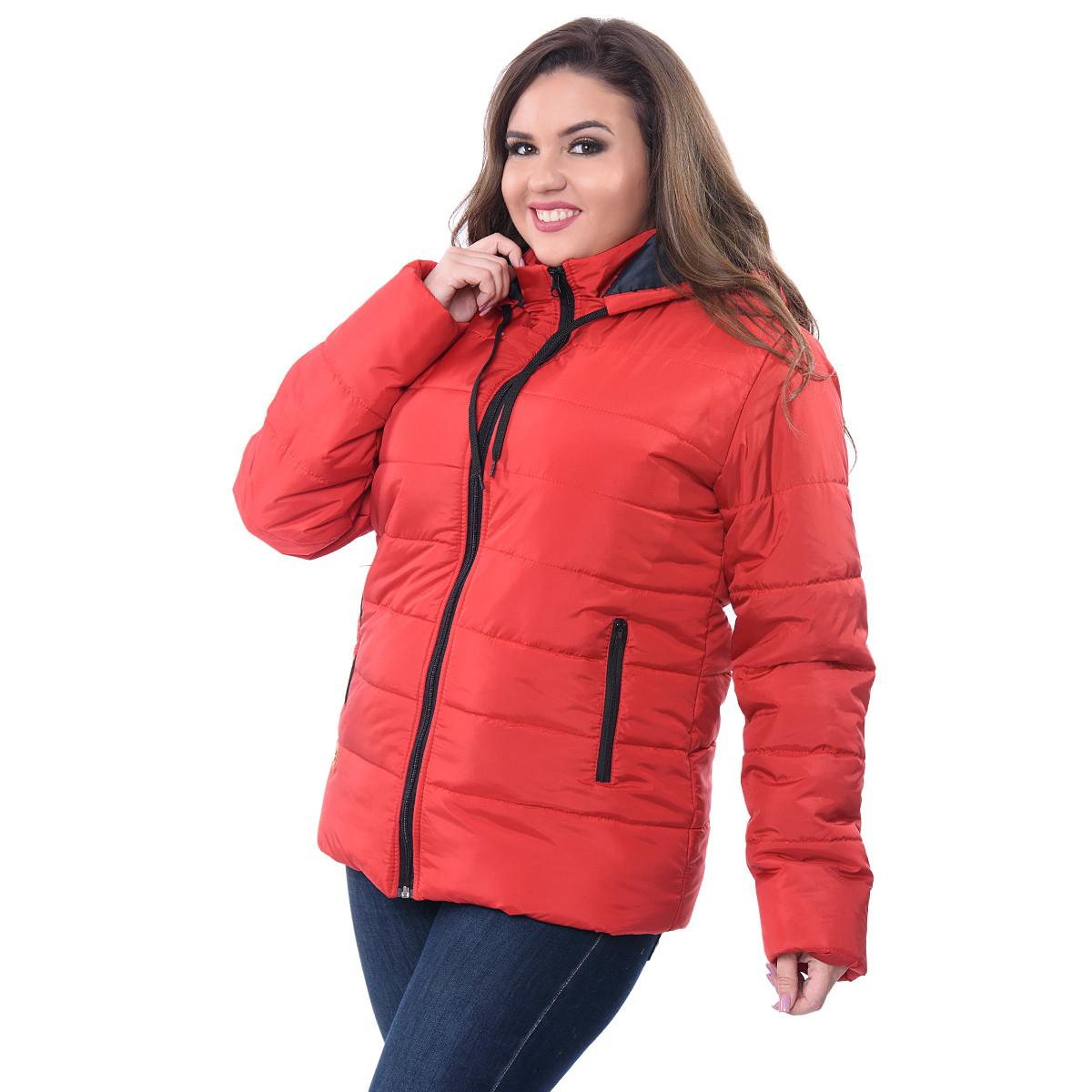 0a456fb3f318 Куртка женская красная батал K227G оптом и в розницу, жилеты и ...