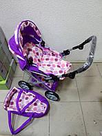 Коляска для куклы 9346 Melogo фиолетово-белая 2в1. Зима/Лето.