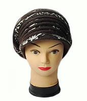 Берет с козырьком (кепка) женский вязаный Леона шерсть с ангорой цвет шоколад, фото 1
