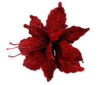 Новогодний декор Пуансетия 27 см красная