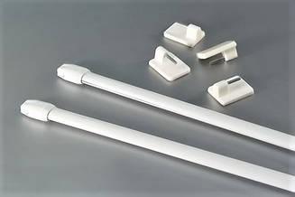 Карниз мини 80-100 см пара, белый (металл) для фиранок