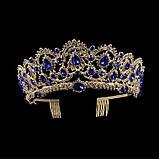Корона, диадема, тиара под золото с зелеными камнями, высота 6,5 см., фото 4