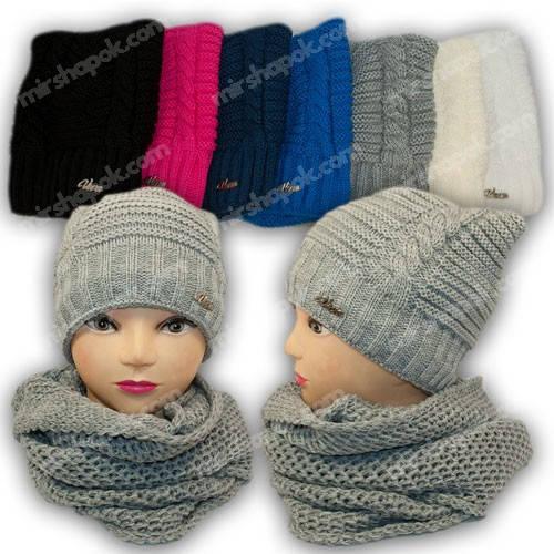 Комплект шапка и шарф (хомут) для девочки, р. 50-52, подкладка флис, 7107