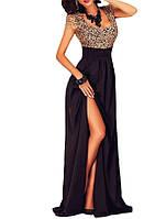 Золотисто Черное Кружевное Вечернее Платье в Пол c Разрезом на выпускной, свадьбу DL-90809