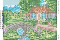 """Схема для вышивки бисером    """"Домик у ручья""""      размер: 42*30 см"""