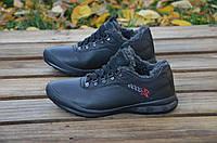 Мужские зимние ботинки Ecco черного цвета из натуральной кожи, на шнуровке, на тонкой подошве