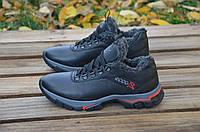 Мужские зимние ботинки Ecco черного цвета из натуральной кожи, на шнуровке, на толстой подошве