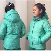 Куртка детская ментоловая для девочки,плащевка на синтепоне+ флис,р.8-11 лет