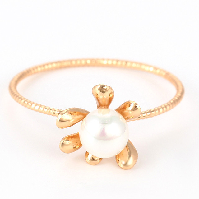 Кольцо 15433 размер 19,  искусственный жемчуг, позолота 18К