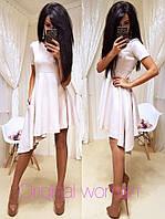 Женское красивое платье с ассиметричным низом (5 цветов)
