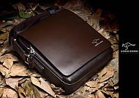 Мужская кожаная сумка Kangaroo, (темно-коричневая)