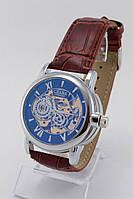 Мужские механические наручные часы Слава серебряные с коричневым ремешком