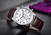 Кварцевые мужские наручные часы с коричневым ремешком код 318 Код:597734381