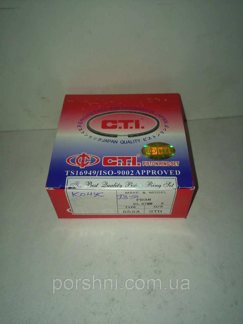 Поршневые кольца Ford   Transit  2.5 D.TD  97 --     93.67  STD  2.5 x 2 x 4   конусные  C.T.I  FD38