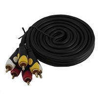 3 RCA – 3 RCA папа-папа AV кабель, тюльпаны, 5м