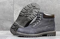 Мужские ботинки Timberland Зима. Кожа Мех 100% Темно синие 3638