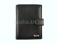 Кошелек мужской кожаный - портмоне вертикальное двойного сложения классический черный