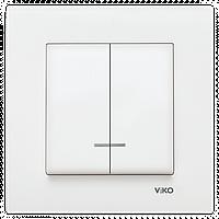 Выключатель двухклавишный с подсветкой VIKO Karre Белый 90960050