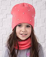 Детский зимний комплект с бусинками из шапки и хомута - Артикул gk3