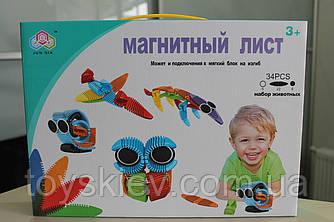 Конструктор Магнитный Лист JQ612 набор Животных 34 дет.