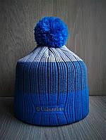 Стильная зимняя шапка Коламбиа с бубоном синяя