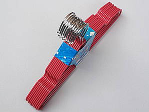 Плечики детские металлические в силиконовом покрытии розовые, 29,5 см, 10 штук в упаковке