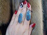 Азурит, хризоколла. Серьги с натуральной хризоколлой в серебре. Серьги с камнем хризоколла. Индия!, фото 5