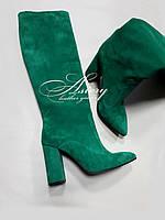 Женские сапоги из зеленой замши